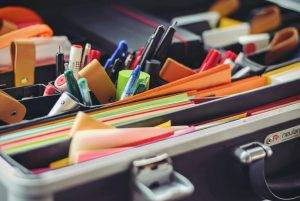 office supplies in suitcase