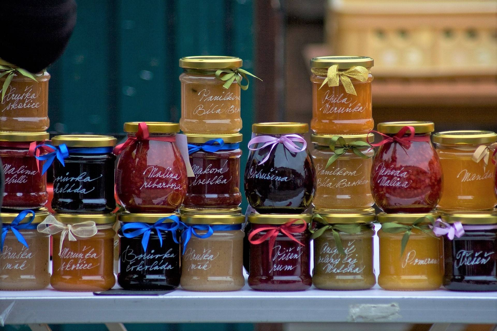 Homemade jams and preserves at a farmers market