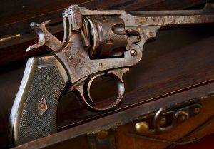 Antique Rusted Revolver in Wooden Gun Case