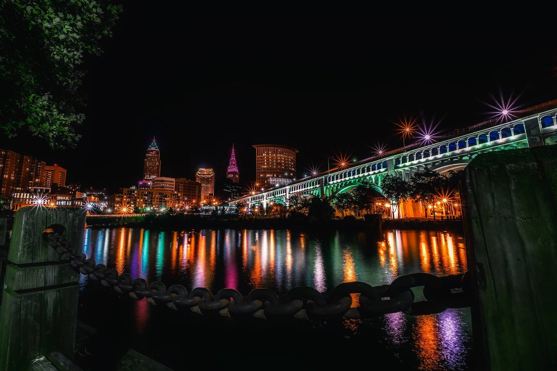 Cleveland at night by the harbor